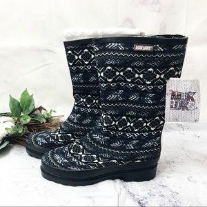 NEW Muk Luks fair isle Anabelle Rain boots Sz 8